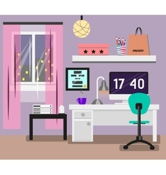 Bedroom Interior flat design Room in pink colors vector