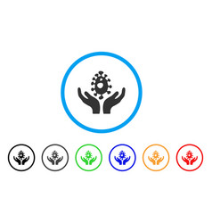Biotechnology care hands rounded icon vector