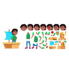 Black afro american boy kindergarten kid vector