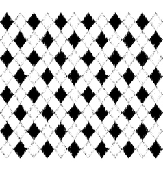 black and white pattern with grunge rhombuses vector image