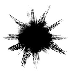 black grunge circle frame tires vector image