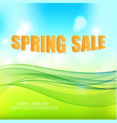 Blue-green spring abstract background with green vector