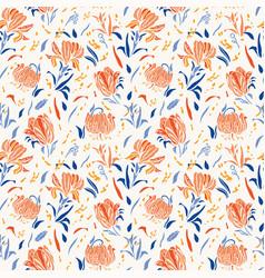 Botany linocut baroque flower pattern seamless vector
