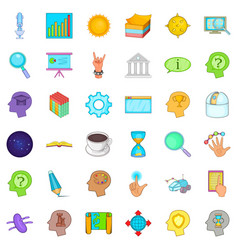 Brainstorm icons set cartoon style vector