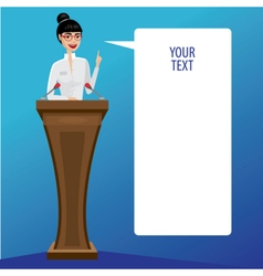Business woman public speaker vector