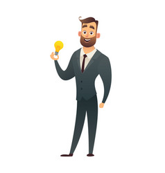 businessman holds in hand light bulb showing vector image