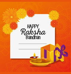 Card hindu event with flowers and present with vector