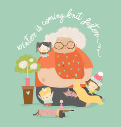 Cartoon funny grandmother knit for her vector