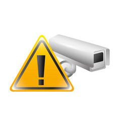 cctv camera with warning signage isolated icon vector image