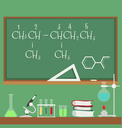 chalkboard with chemistry formulas and science vector image