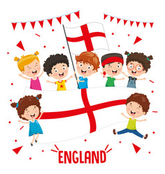 children holding england flag vector image