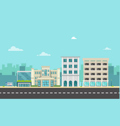 City street and company with bus stop in flat vector