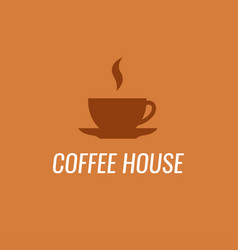 coffee logo isolated on coffee-orange background vector image