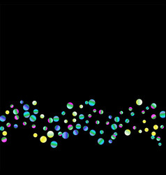 colored confetti-points are scattered on a black vector image