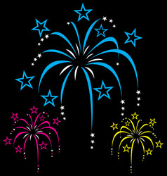 colourful stylized cartoon fireworks vector image