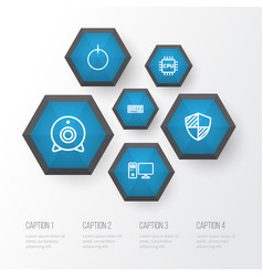 Computer outline icons set collection protect vector