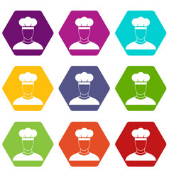 cook icon set color hexahedron vector image