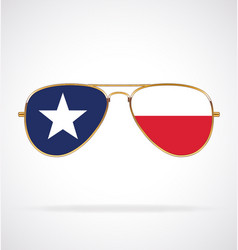 Cool gold aviator sunglasses with texas state flag vector
