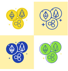cryptocurrency altcoins icon set in flat and line vector image