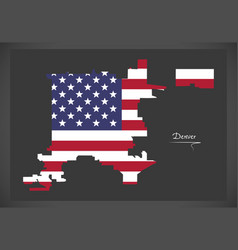 Denver colorado map with american national flag vector