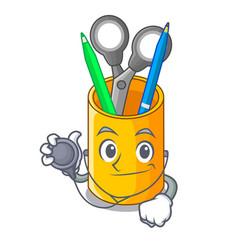 Doctor organizer desktop top view with cartoon vector
