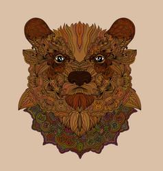 doodle bear portrait vector image