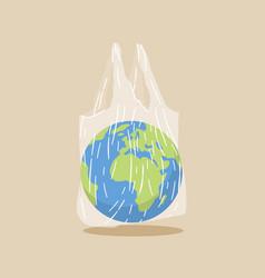Earth globe in transparent plastic bag plastic vector
