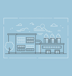 factory - modern line design style vector image