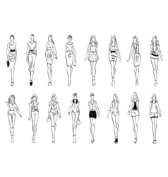 Fashion models shows everyday outfits sketch icons vector