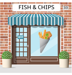 Fish and chips cafe vector