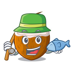 fishing cartoon beverage coconuts on the beach vector image
