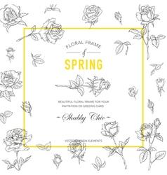 Floral Roses Frame Invitation Card Wedding Card vector