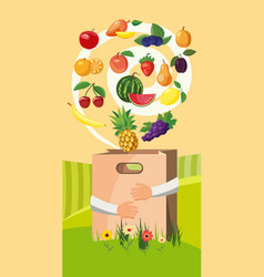 Food vertical banner cartoon style vector