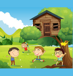 Four boys playing in treehouse vector