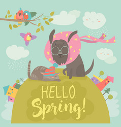 Funny dog and cute cat meeting spring vector