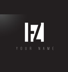 fz letter logo with black and white negative vector image