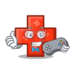 gamer cross mascot cartoon style vector image