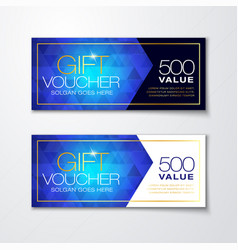 gift voucher set with blue diamond pattern vector image