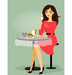 Girl in the cafe blank promo vector image
