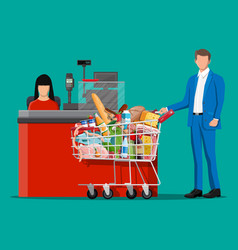 Groceries in checkout counter vector
