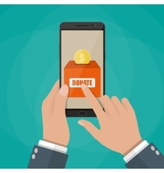 Hand holding smartphone with donate application vector
