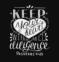 Hand lettering and bible verse keep your heart vector