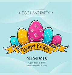 happy easter banner with colored easter eggs vector image
