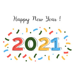 happy new year 2021 and merry christmas greeting vector image