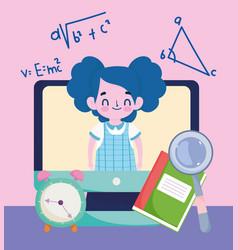 happy teachers day student girl online computer vector image