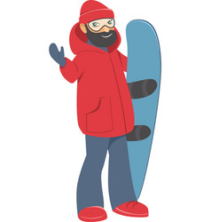 Happy young man with snowboard vector
