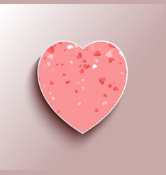 heart-shape 3d pink frame with white and red heart vector image