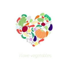 Heart vegetables food color vector