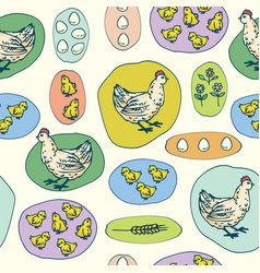 hen little chickens and eggs seamless pattern vector image