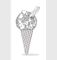 Ice cream cone with chocolate flake vector